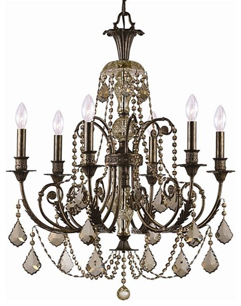 Lighting Chandeliers Traditional with Crystorama Regis Bronze 6 Light Chandelier Traditional Chandeliers