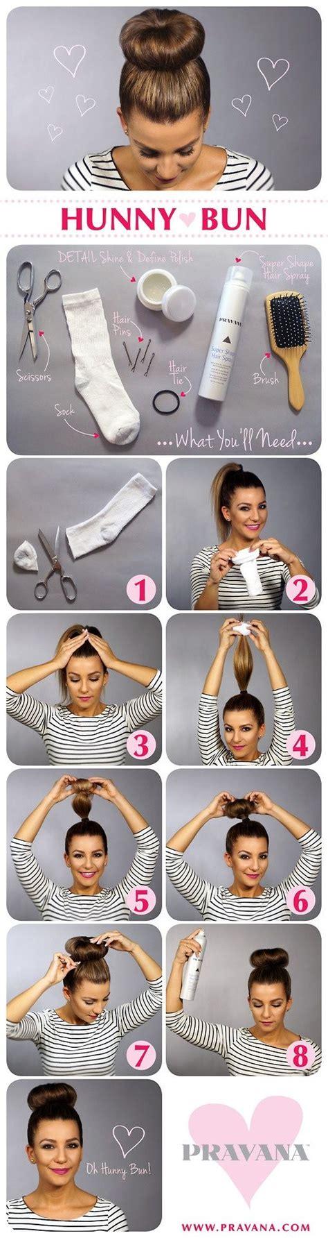 sock bun tutorial hair