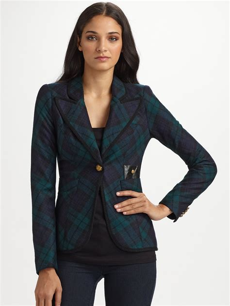Blue Turqish Blazer T1310 1 lyst smythe taped plaid blazer in blue