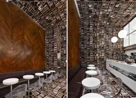 interior design book cafe floor to wall books dizzying sideways cafe design in nyc
