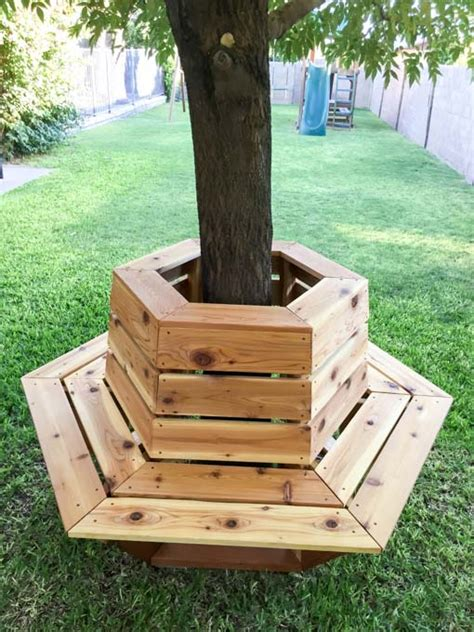 diy tree bench how to build a hexagon cedar bench addicted 2 diy