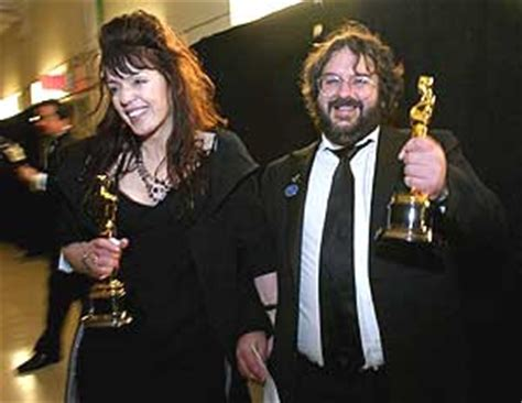 Peter Jackson and his wife Fran Walsh, backstage after the