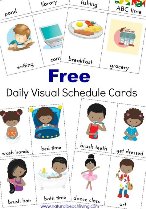 extra daily visual schedule cards free printables for