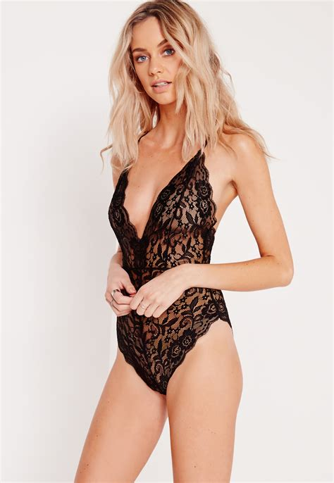 Sheer Lace Bodysuit missguided sheer lace strappy back bodysuit black in black