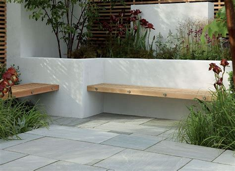 White Garden Walls Contemporary Hardwood Benches Built Into A White Rendered