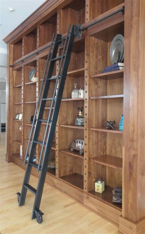 rolling bookcase ladder custom made steel rolling library ladder house