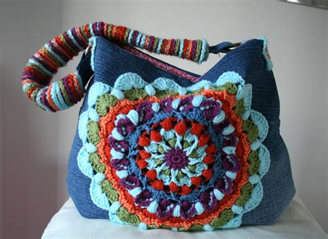 crochet bag new pattern upcycled denim and crochet bag pattern giveaway closed
