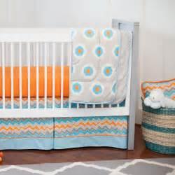Baby Bedding Orange Gray And Orange Ikat Dot 3 Crib Bedding Set