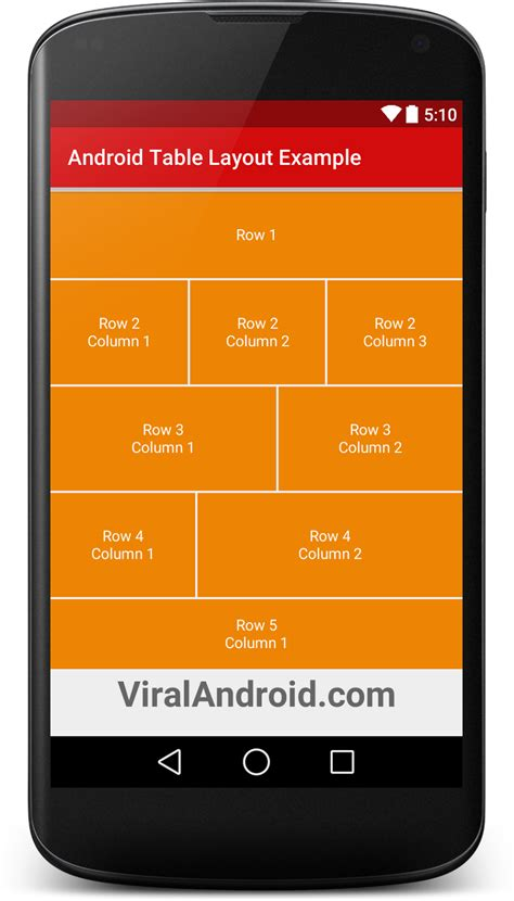 tutorial android xml layout android table layout exle viral android tutorials