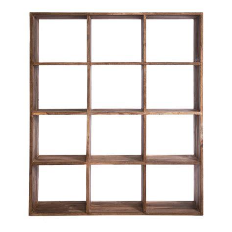 authentico square shelving unit brown achica