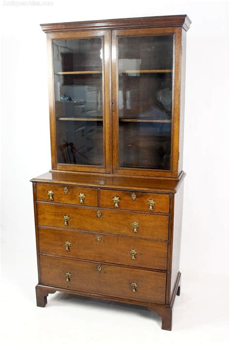 georgian oak glazed bookcase cabinet on chest antiques atlas