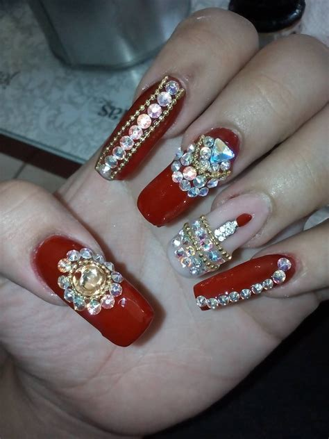 imagenes de uñas acrilicas con pedreria u 241 as estilo sinaloa color rojo youtube