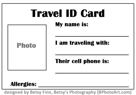Travel Quot Id Quot Card For Toddlers Free Printable Betsys Photography Child Id Card Template Free