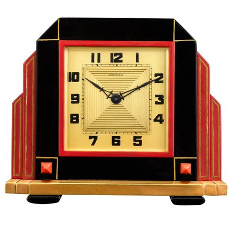 Coral Home Decor by Art Deco Cartier Clock At 1stdibs