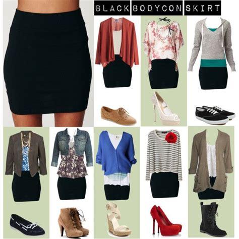 black bodycon skirt casual winter clothes