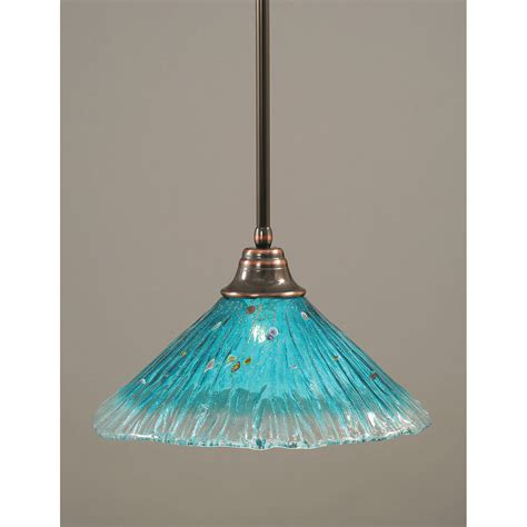 Teal Pendant Light Toltec Lighting Black Copper One Light Pendant With Teal Glass Shade On Sale