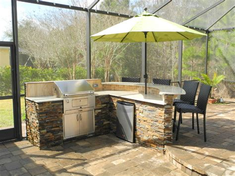 backyard bar and grille outdoor kitchen with curved bar and charcoal grill