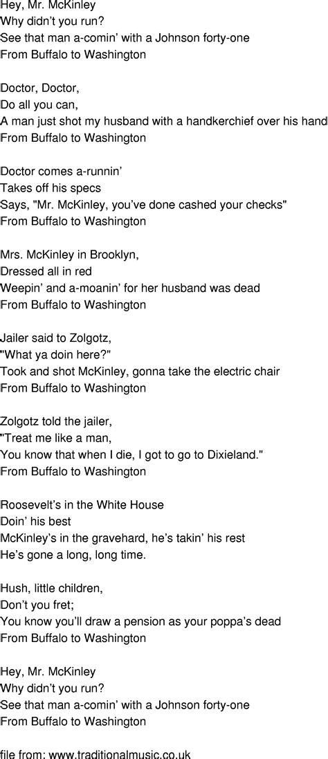 white houses lyrics old time song lyrics mckinley white house blues