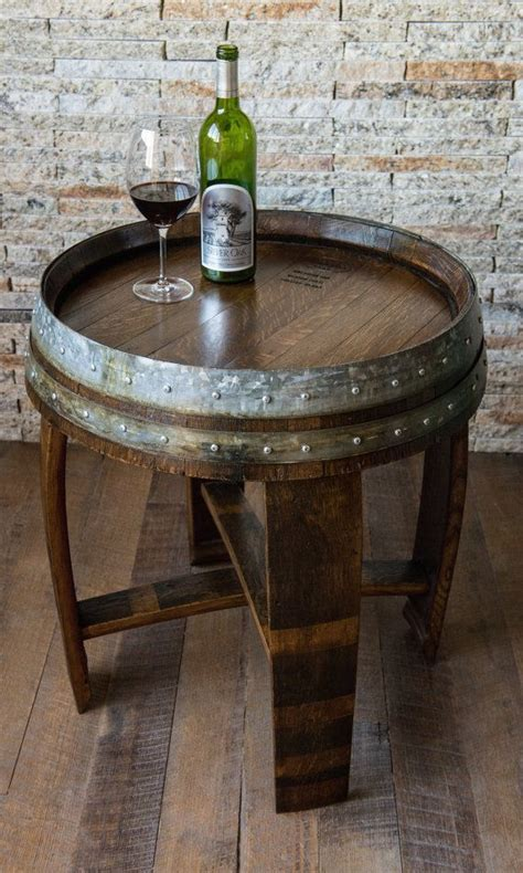 wine barrel end table walnut stained wine barrel end table with cross