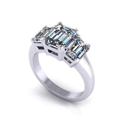 emerald cut 3 engagement jewelry designs