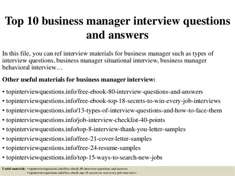 top 10 business manager questions and answers