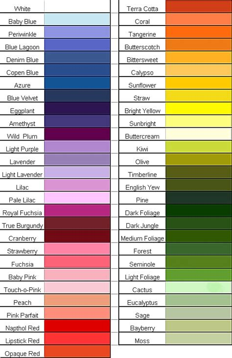 list of color punched