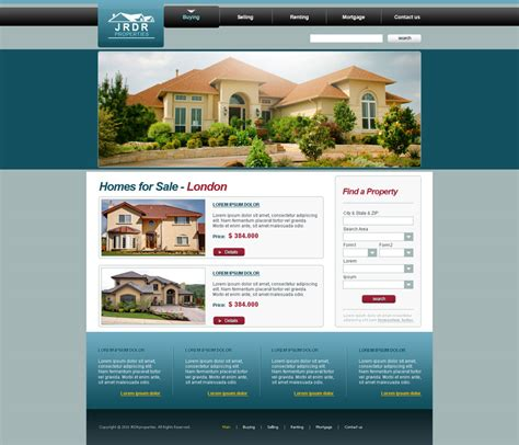 homes for sale website design free