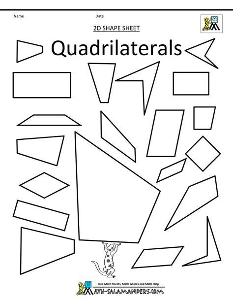 Quadrilaterals Worksheet by Shapes Clip Grade 2d Shapes