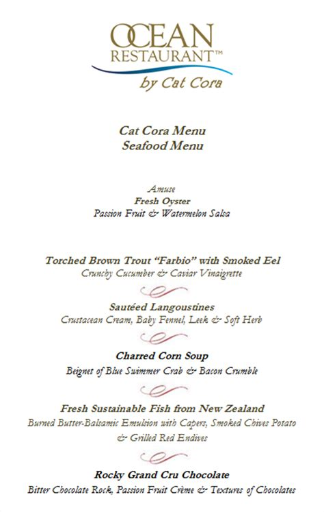 Cat Cora S Kitchen Menu by Restaurant By Cat Cora Lunch Menu Cats