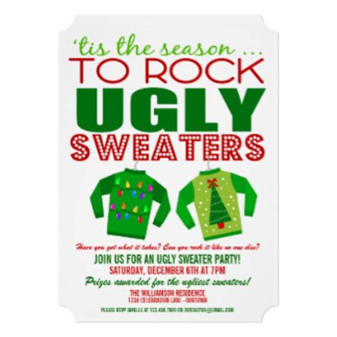 Ugly Christmas Sweater Party Invitations Announcements Zazzle Sweater Invite Template