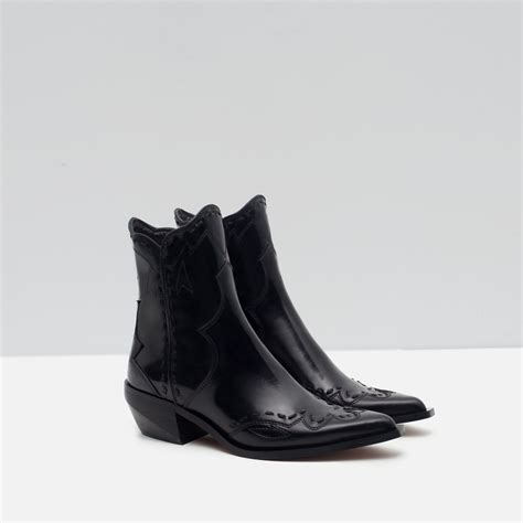 zara boots zara flat leather cowboy ankle boots in black lyst