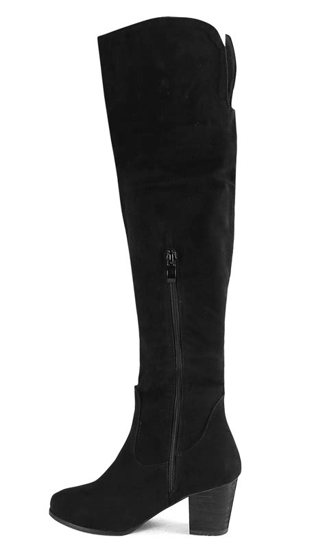 courtlike black suede thigh high chunky heels boots swb20381