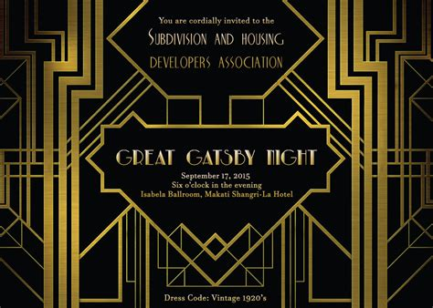 shda invites you to the great gatsby night on september 17