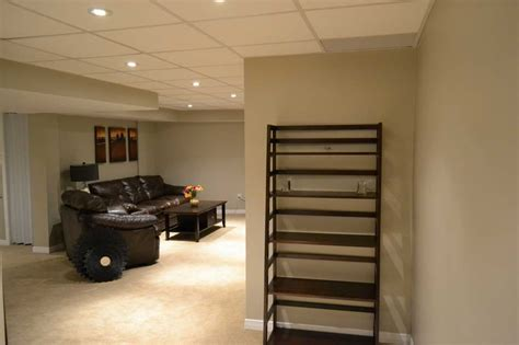 basement basement ceiling options with sofa brown