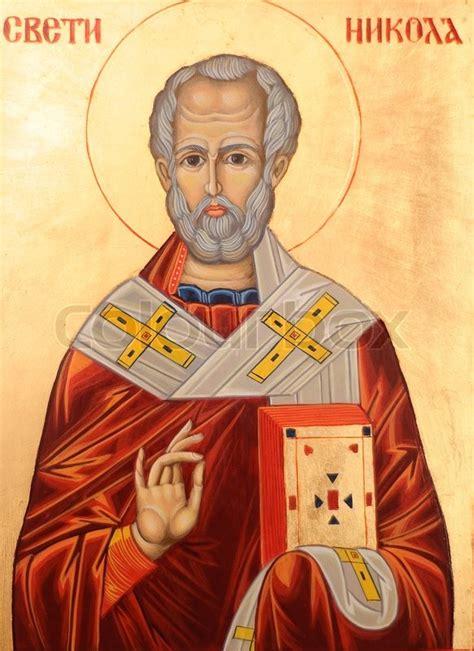 orthodox st icon of nicholas orthodox style stock photo