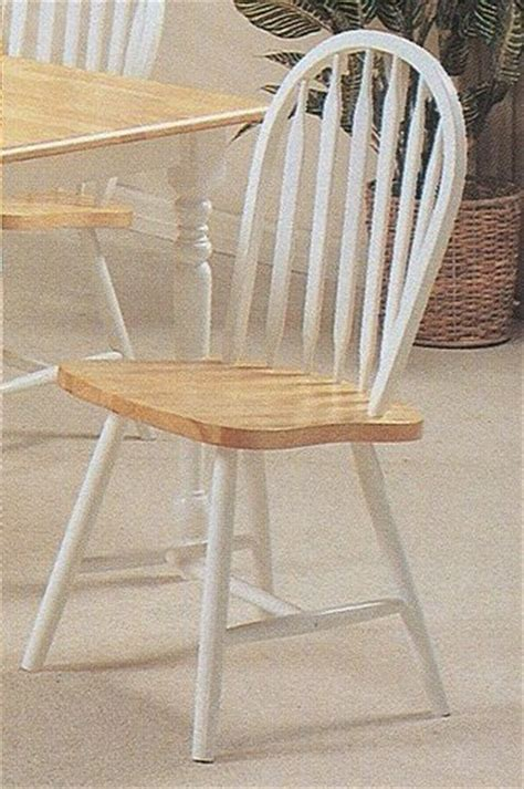 Kitchen Chairs White And Wood Set Of 4 White Finish Arrow Back Wood