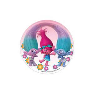 Football Cake Decorations Disque En Sucre Les Trolls Cheveux Reli 233 Fond Rose