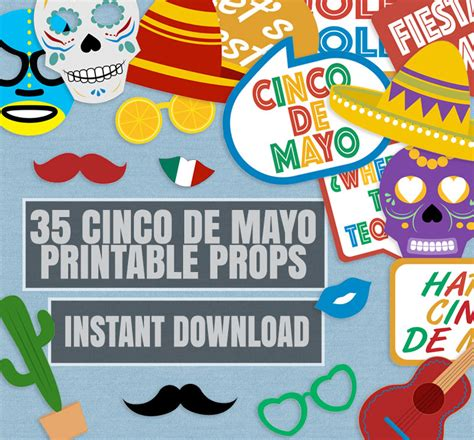 cinco de mayo printable photo booth props 35 cinco de mayo prop printables mexican party props