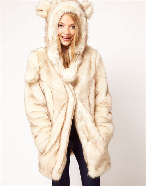 Faux Fur Hooded Coat asos collection faux fur hooded coat with ears in beige