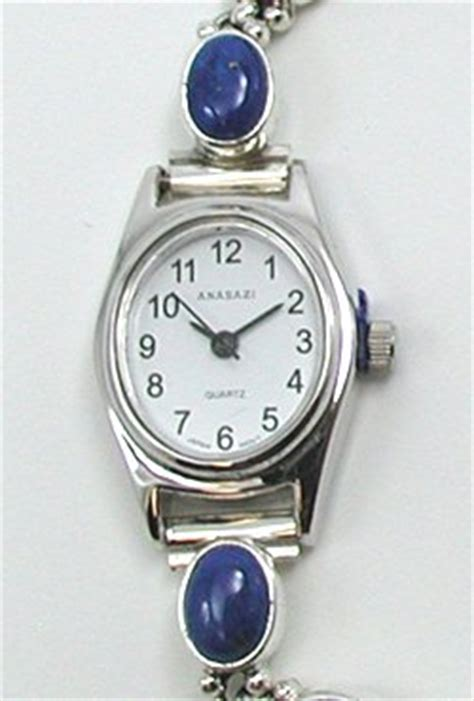 Handmade American Watches - renell perry navajo sterling silver lapis adjustable link