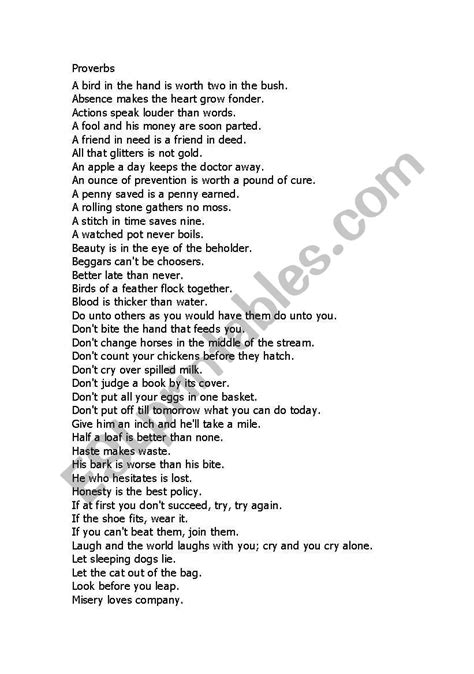 Proverbs Worksheets Pdf