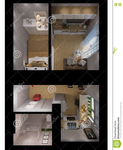 living room bedroom bathroom kitchen 3d rendering living room kitchen hall bedroom bathroom