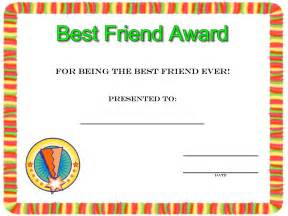 friendship day best friend award certificate to print
