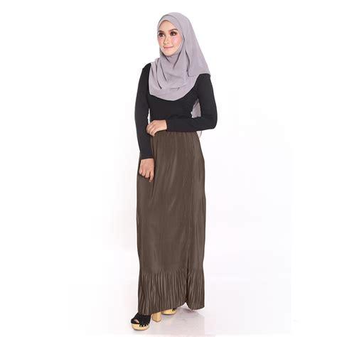 Top Atasan Wanita Blouse Pendek Navy Green Maroon janne pleated frill hem muslimah skirts malaysia best shopping fashion boutique