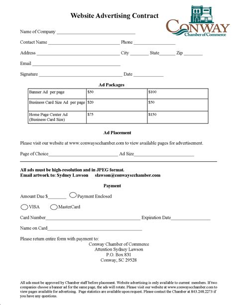 Webiste Advertisement Contract Form Conway Chamber Of Commerce Website Advertising Contract Template