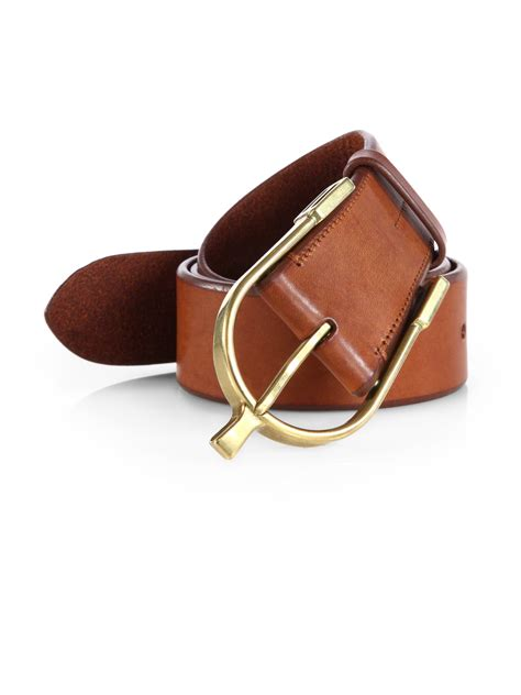 ralph saddle wishbone leather belt in brown for