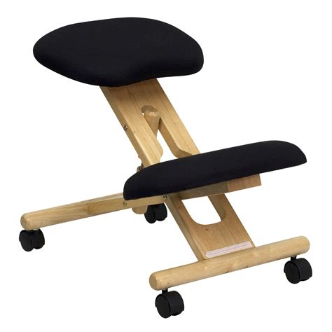 Kneeling Chair Flash Mobile Wooden Ergonomic Kneeling Chair In Black