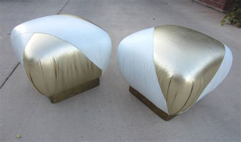 Gold Pouf Ottoman Regency Pouf Ottomans In Gold And White Leather Karl Springer Style For Sale At 1stdibs