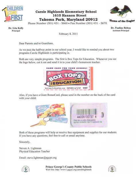 Parent Letter Box Tops Resume Portfolio Mr Lightman S Pe Website