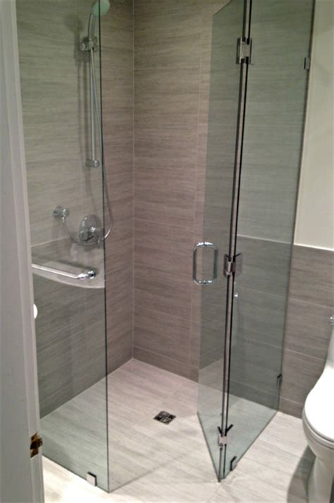 Frameless Corner Shower Doors Curbless Frameless Corner Shower Neo Angle Frameless Showers Modern Bathroom Vancouver